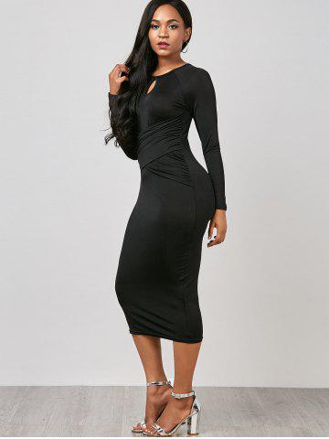 Outfit Keyhole Midi Ruched Long Sleeve Bodycon Dress - M BLACK Mobile