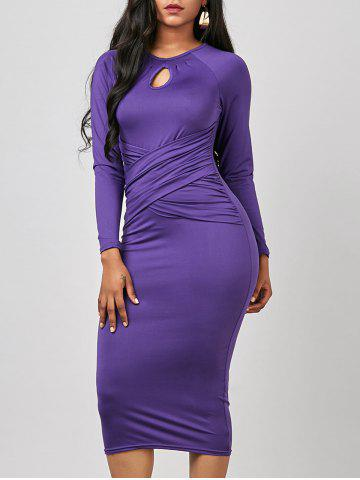 Buy Keyhole Midi Ruched Long Sleeve Bodycon Dress - S PURPLE Mobile