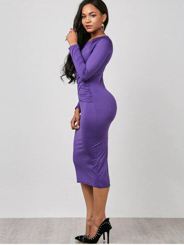 Hot Keyhole Midi Ruched Long Sleeve Bodycon Dress - S PURPLE Mobile