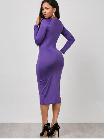 Best Keyhole Midi Ruched Long Sleeve Bodycon Dress - S PURPLE Mobile