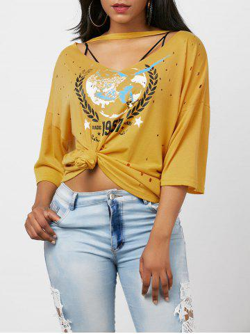 Oversized Graphic Distressed Choker T-Shirt - Yellow - L