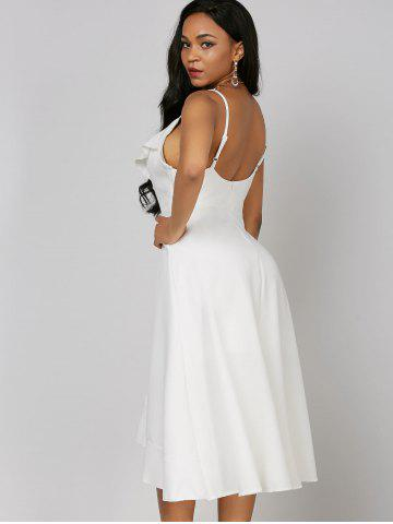 Outfit Ruffle High Low Slip Dress - M WHITE Mobile