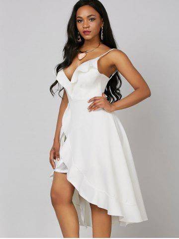 Outfit Ruffle High Low Slip Dress - L WHITE Mobile