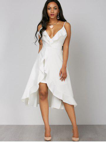 Affordable Ruffle High Low Slip Dress - L WHITE Mobile