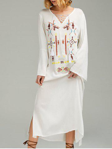Maxi brodé à manches longues Casual Boho Dress