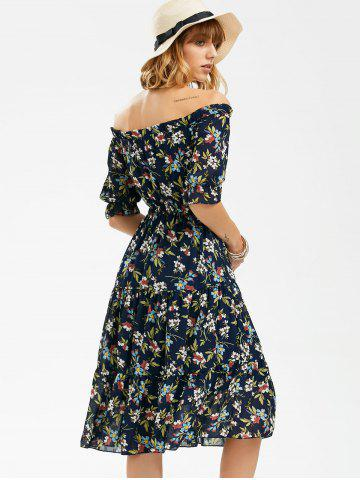 Sale Flower Print Off The Shoulder Midi Chiffon Dress - L BLUE Mobile