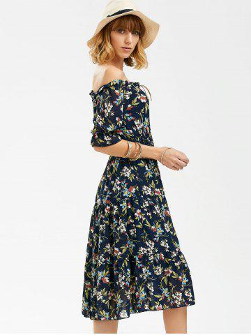 Cheap Flower Print Off The Shoulder Midi Chiffon Dress - L BLUE Mobile