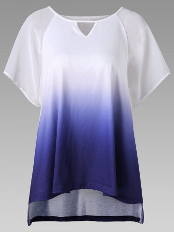 Unique Keyhole Neck Ombre High Low Hem T-Shirt - 2XL BLUE Mobile