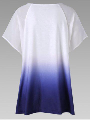 Fashion Keyhole Neck Ombre High Low Hem T-Shirt - 2XL BLUE Mobile
