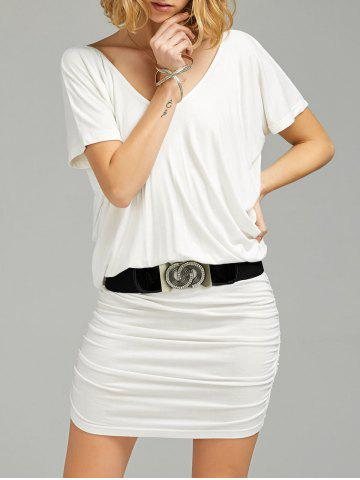Ruched V Neck Tee Dress with Belt - White - 2xl