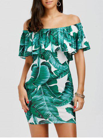 Trendy Leaf Print Ruffle Off The Shoulder Summer Dress WHITE AND GREEN XL
