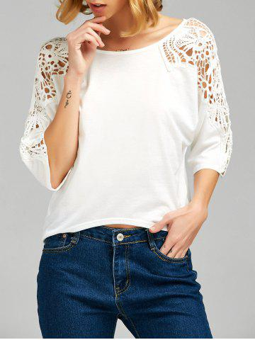 Trendy Lace Insert Cutwork Tee WHITE M