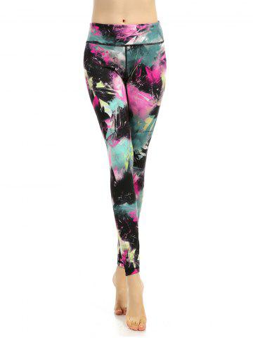 High Waisted Colorful Sports Leggings - Floral - Xl