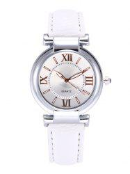 Roman Numeral Faux Leather Strap Wrist Watch