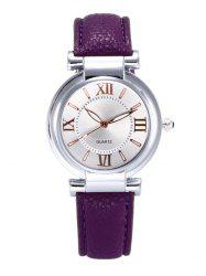 Roman Numeral Faux Leather Strap Wrist Watch - PURPLE