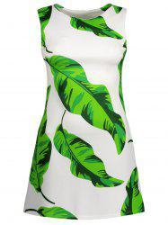 Leaf Print Sleeveless Mini Dress