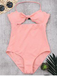 Halter Scalloped One-Piece Swimsuit