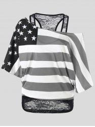 Skew Collar American Flag Plus Size T-Shirt