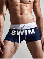 Letter Print Drawstring Swimming Trunks - DEEP BLUE