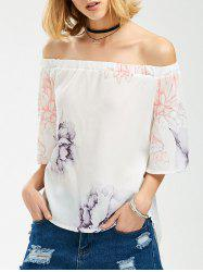 Off The Shoulder High Low Floral Chiffon Blouse