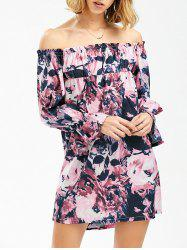 Ink Painting Off The Shoulder Shift Dress with Sleeves - COLORMIX