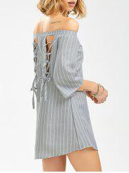 Off The Shoulder Lace Up Striped Shift Dress with Sleeves - STRIPE