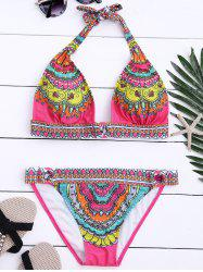 Printed Halter Metal Panel Bikini Set