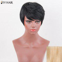 Siv Hair Side Bang Natural Short Straight Layered Human Hair Wig