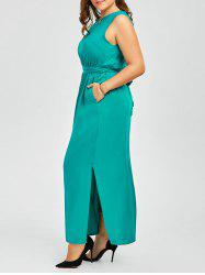 Plus Size Long Prom Slit Dress with Belt