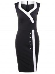 Sweetheart Neck Button Detail Fitted Dress - BLACK