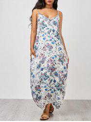 Spaghetti Strap Floral Summer Maxi Dress - BLUE