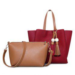 Wood Bead Tassel Shoulder Bag Set