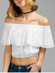 Flounce Off The Shoulder Crop Top