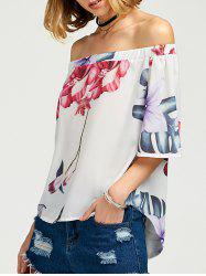 Off The Shoulder Floral High Low Top