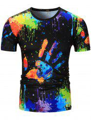 Colorful Handprint Splatter Paint Print T-Shirt - COLORMIX