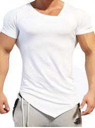 V Neck Asymmetric Tee - WHITE