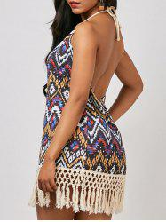 Geometrical Halter Neck Backless Tassel Summer Dress - COLORMIX