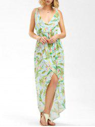 Floral High Split Asymmetric Slip Dress