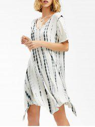 V Neck Asymmetrical Tie Dye T-Shirt Dress - WHITE