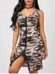 Front Slit Sleeveless Camo Bodycon Dress