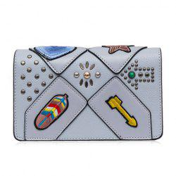 Rivet Patches FlapCrossbody Bag