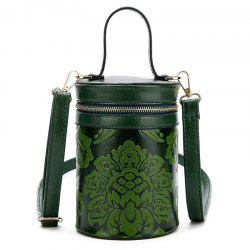 Floral Embossed Cylinder Shaped Handbag