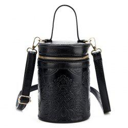 Floral Embossed Cylinder Shaped Handbag - BLACK