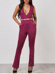 Surplice Sleeveless Belted Jumpsuit