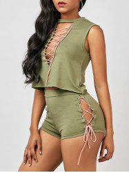Sleeveless Lace Up Top and Mini Shorts - ARMY GREEN