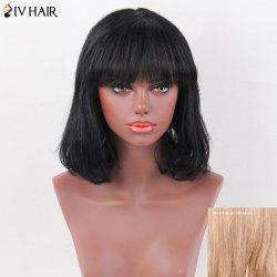Siv Hair Medium Full Bang Natural Straight Bob Human Hair Wig
