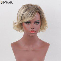 Siv Hair Shaggy Curly Inclined Bang Colormix Short Human Hair Wig