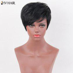 Siv Hair Layered Short Oblique Bang Natural Straight Human Hair Wig