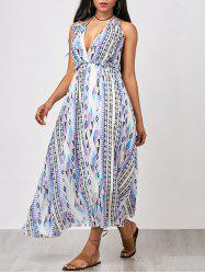 Criss Cross Printed Maxi Chiffon Summer Dress