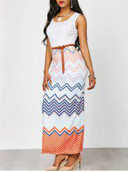 Sleeveless Bohemian Chevron Maxi Dress